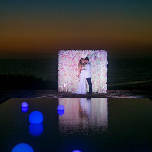 Pink wedding, malibu wedding, vow renewal, geffen events, the lighter side, led globes, boone studios