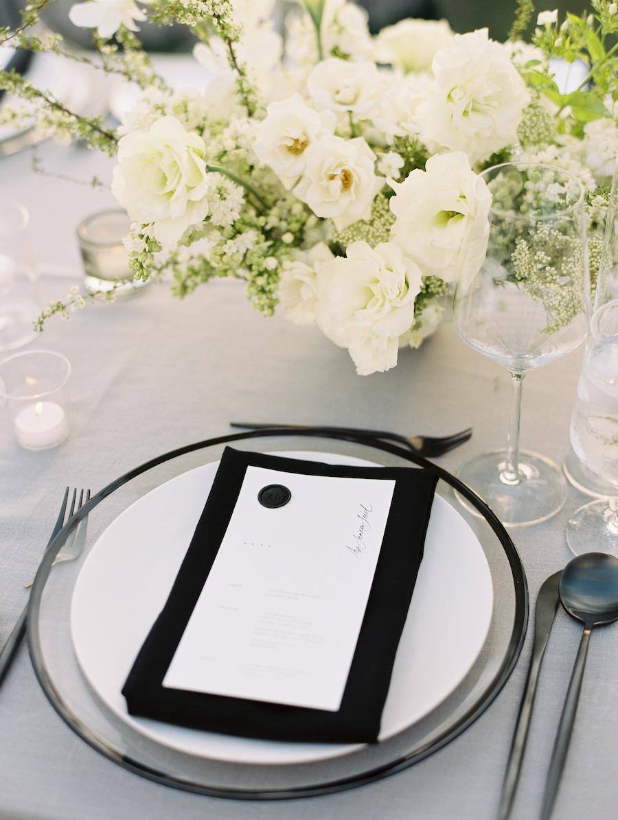 wedding reception dinner menu in los angeles