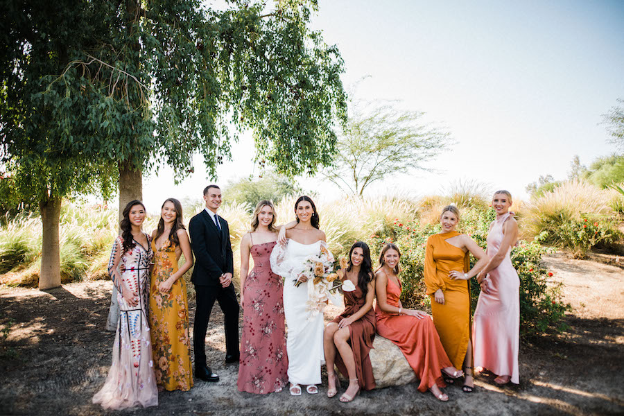 bride and her bridesmaids outdoor wedding