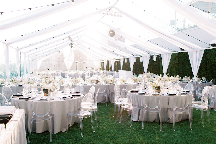 minimalist wedding decor and string lighting