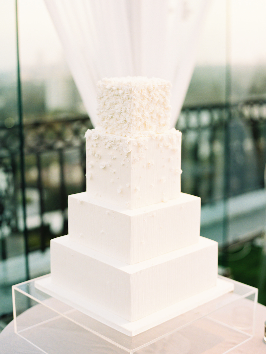 minimalist wedding cake with floral details