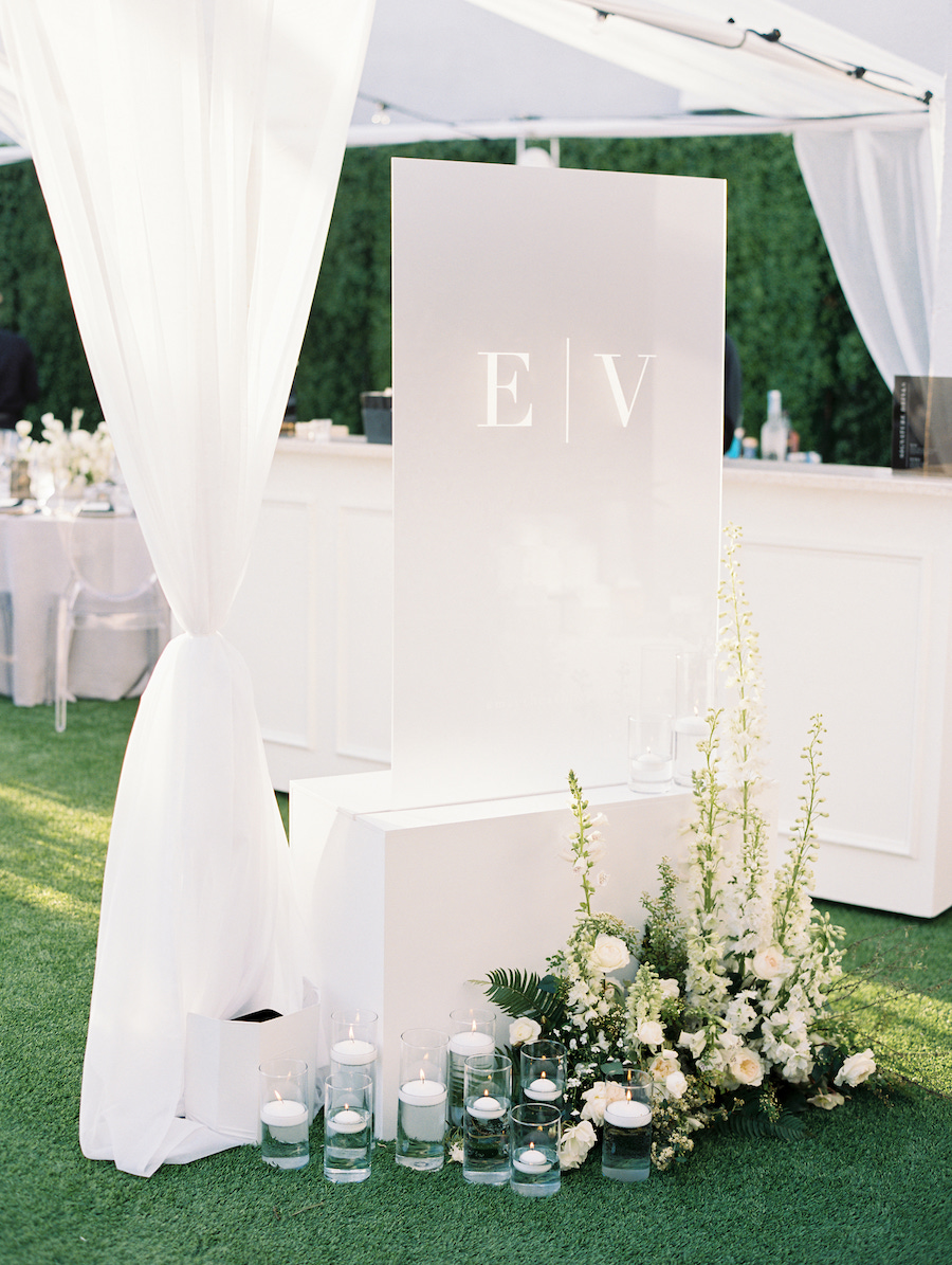 outdoor rooftop wedding guest list display