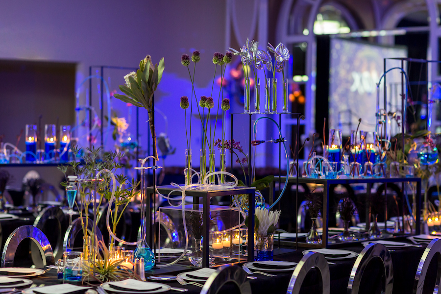 tabletop decor for chemistry themed bar mitzvah at beverly hills hotel