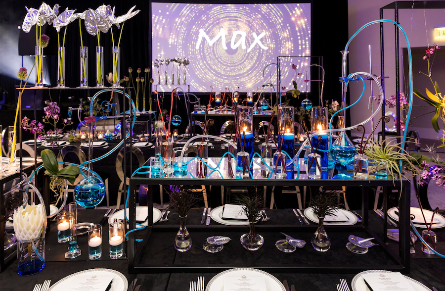 chemistry themed bar mitzvah tabletop details