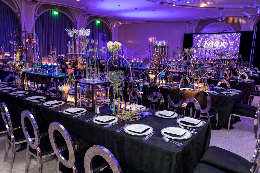 seating details for guests at chemistry themed bar mitzvah at beverly hills hotel