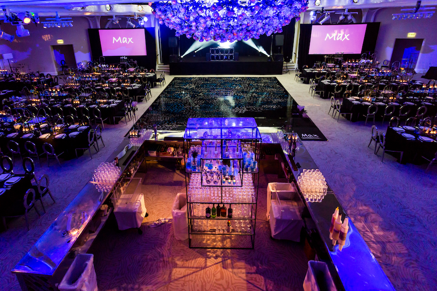overview of beverly hills hotel ballroom for chemistry themed bar mitzvah