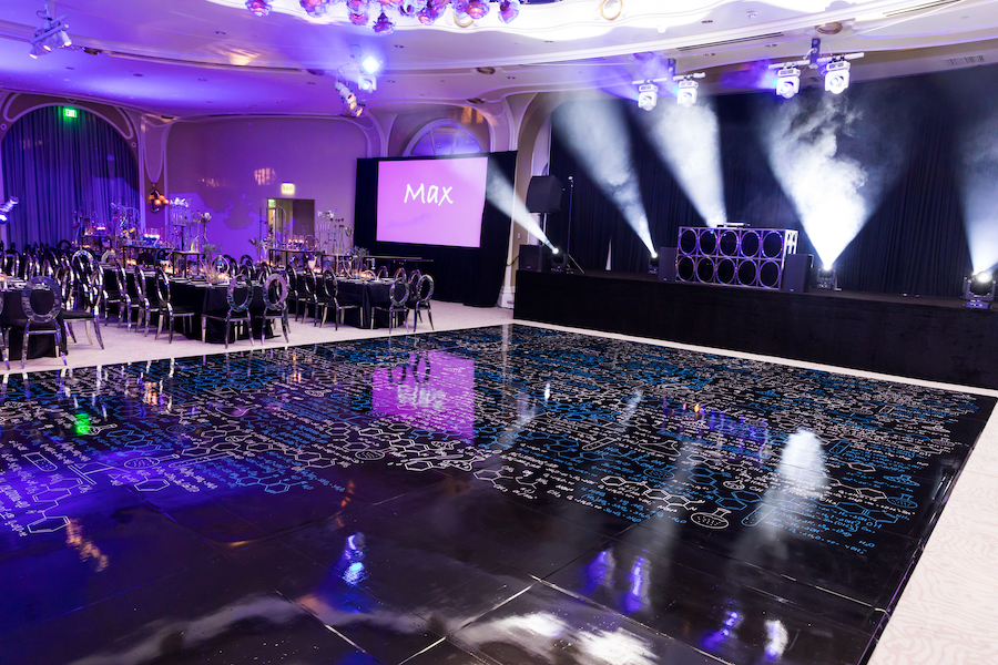 beverly hills hotel ballroom dance floor with chemistry formulas