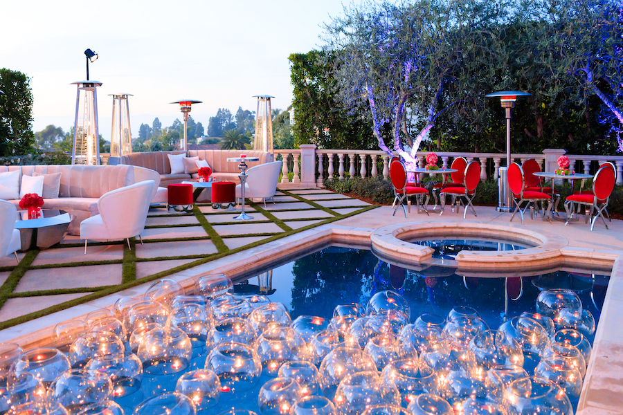 outdoor lounge area with pool at palos verdes estate