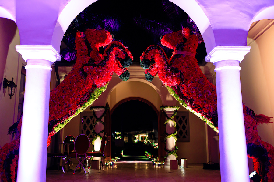 grand entryway at palos verdes estate with two large floral reindeers