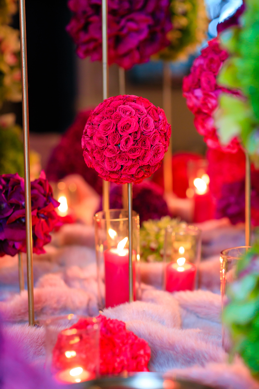 large rose bouquet centerpieces at holiday party in palos verdes