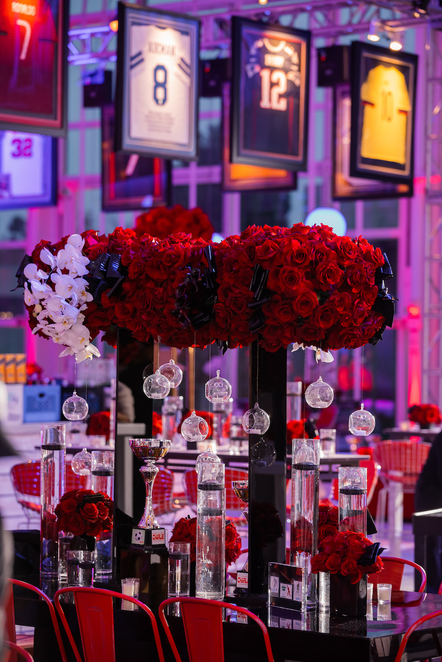 large centerpieces of red roses at bar mitzvah in los angeles