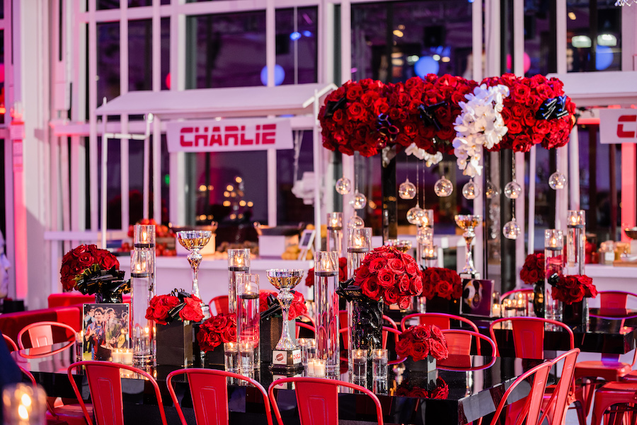 red accent tabletop decor for sports themed bar mitzvah