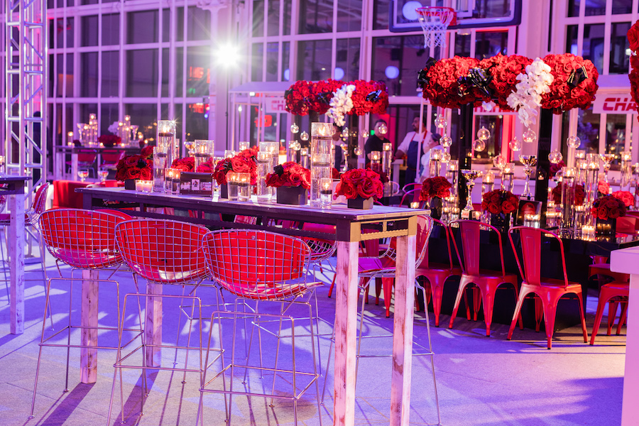 large floral bouquets and centerpieces at bar mitzvah