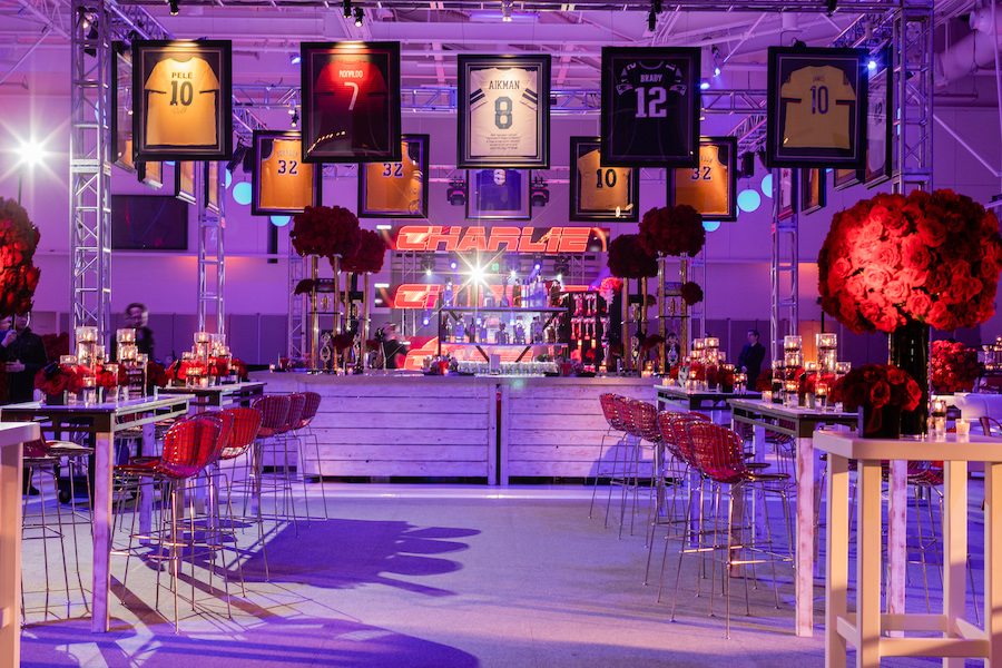 sports jersey displaying on stage for bar mitzvah in los angeles