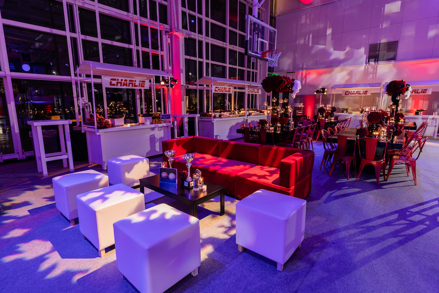 lounge area for guests at sports themed bar mitzvah