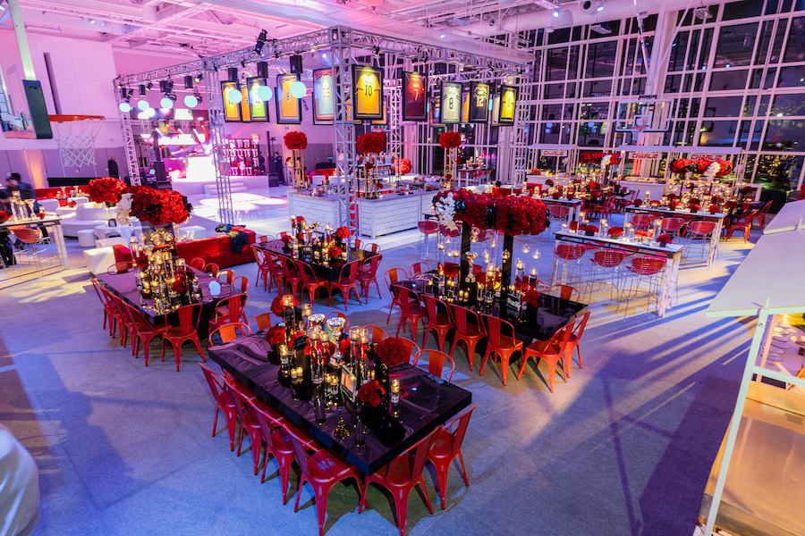 overview of tables at sports themed bar mitzvah