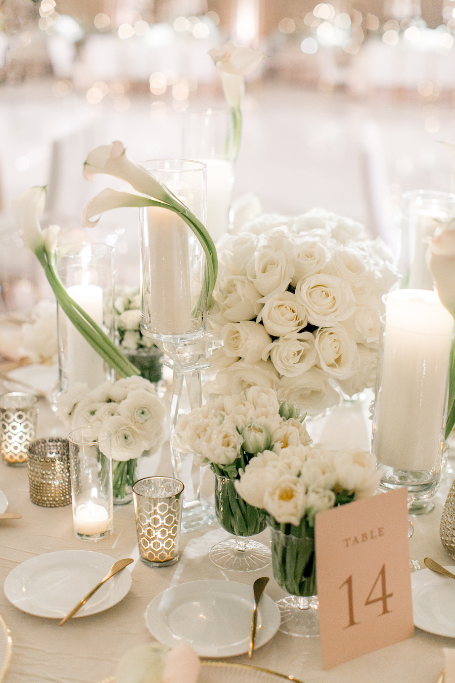 floral centerpiece details at wedding reception