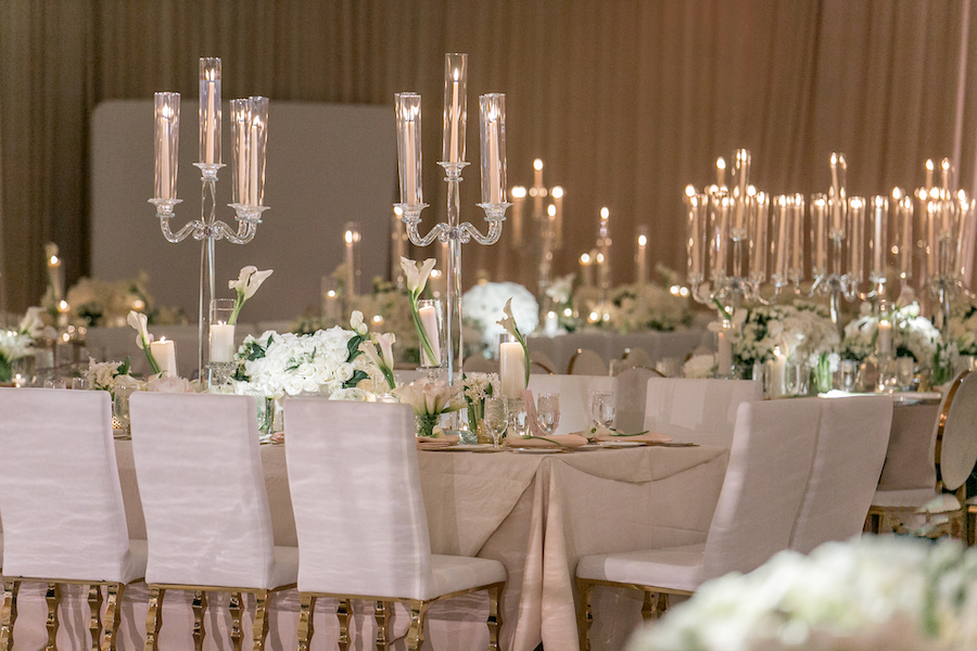 large candlelights as centerpieces at wedding reception