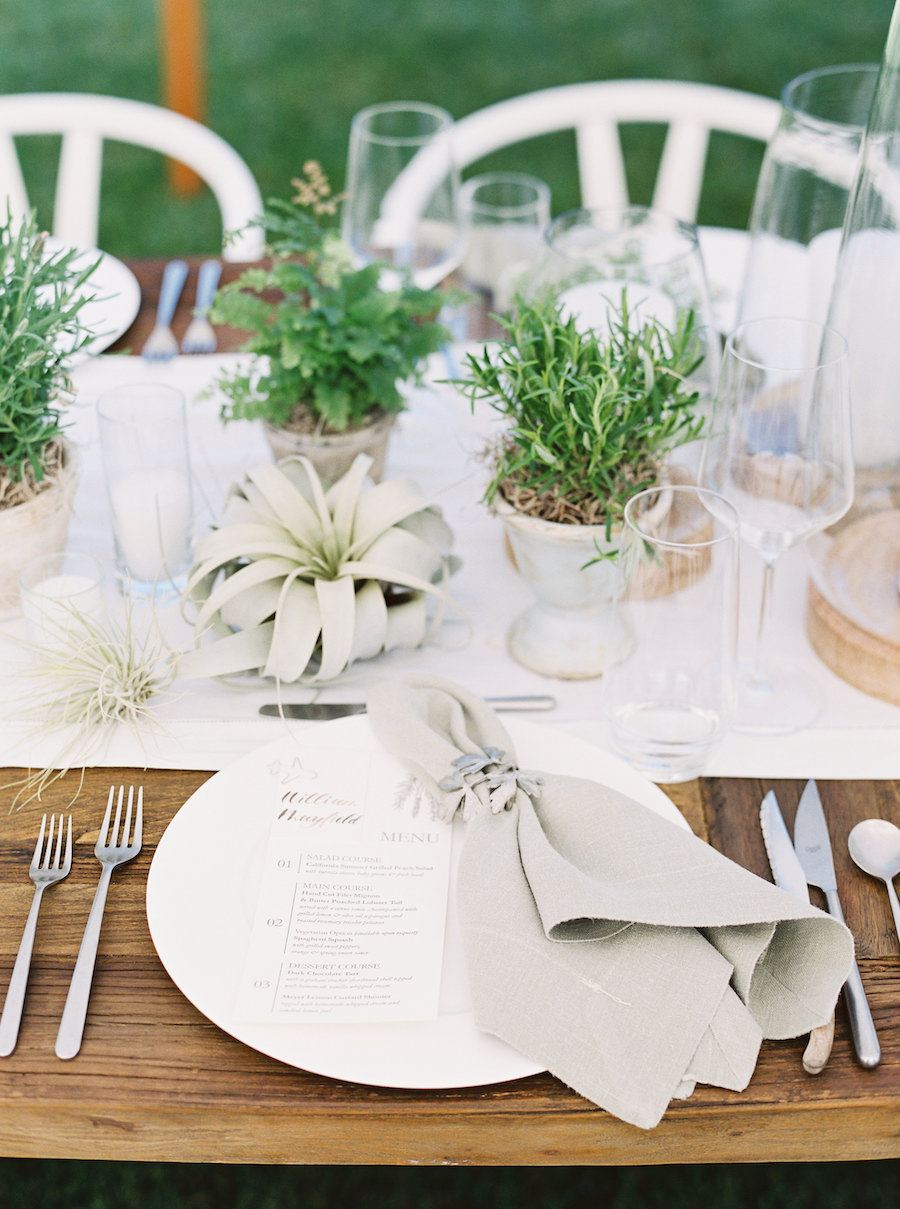 tabletop decor with wedding menu